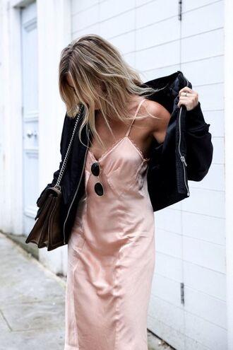 dress pink dress blush pink slip dress satin dress black bomber jacket bomber jacket outfit idea silk slip dress tumblr sunglasses jacket black jacket