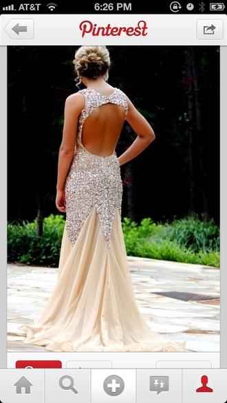 dress glitter dress prom dresses long prom dress sequin dress gold nude open back sparkles glitter embellishment cut out champagne prom dresses