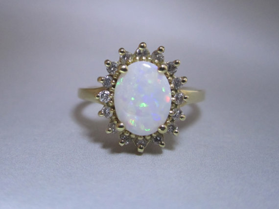 Vintage diamond and Opal l 14kt Yellow gold  by VintageJewelryAce
