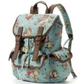 bag flowers bluish pink backpack floral backpack