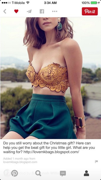 top gold and cropped blouse