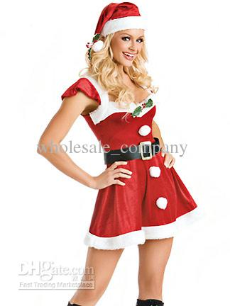wholesale new sexy lingerie santa claus soldier costumes female christmas outfits suits women clothes with hat
