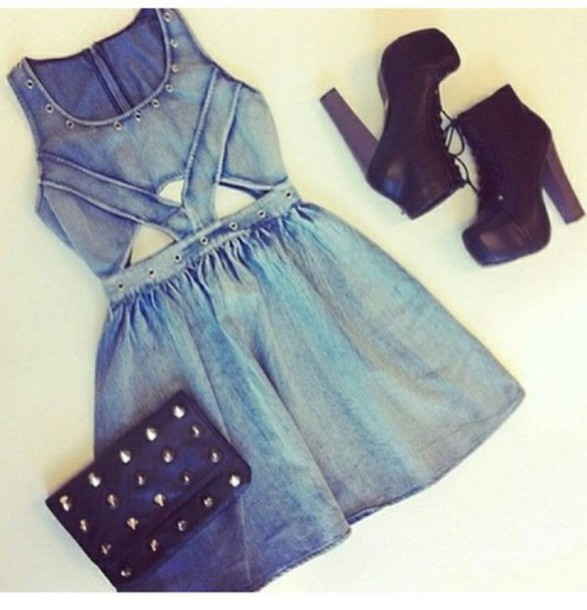 dress denim black cut-out