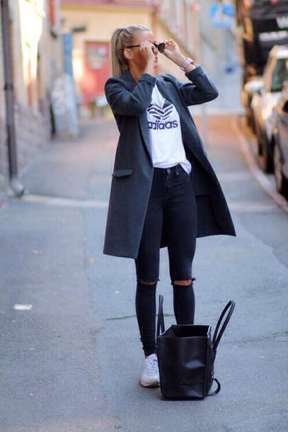 8531caa818e pants coat grey long coat grey coat grey t-shirt jacket adidas black jeans  stylish