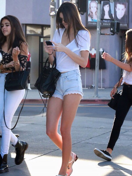 kendall jenner white t-shirt denim shorts shorts blouse