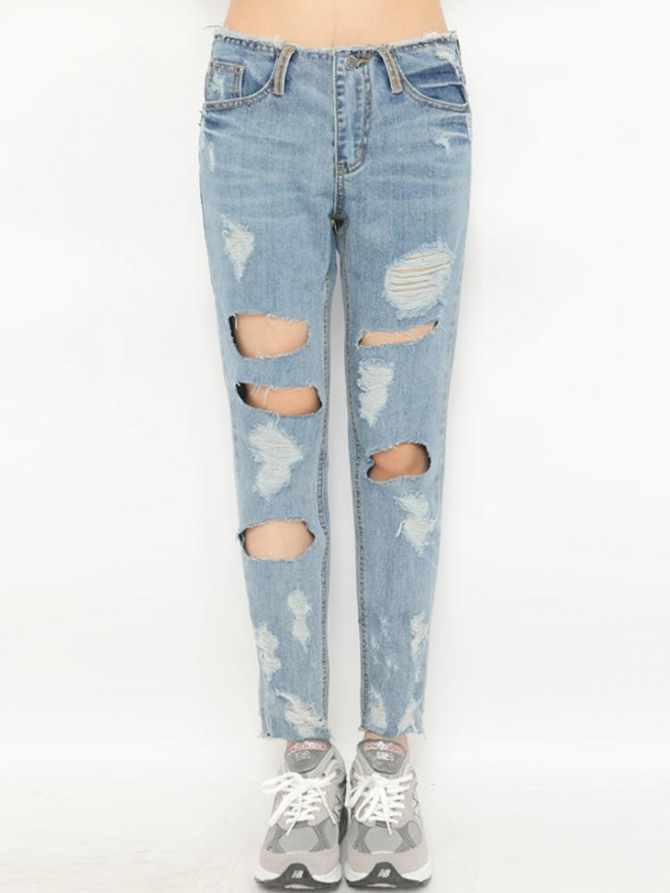 Waist Ripped Jeans in Washed Out Blue | Choies