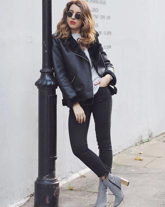 jacket tumblr black jacket leather jacket black leather jacket shearling jacket black shearling jacket denim jeans black jeans ankle boots top sunglasses
