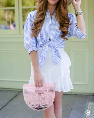 bag tumblr pink bag handbag skirt mini skirt wrap ruffle skirt shirt blue shirt stripes striped shirt
