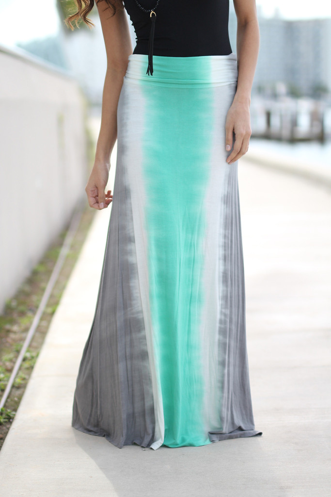 2df97806d413 Mint And Gray Tie Dye Maxi Skirt