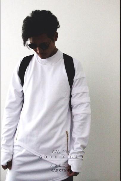 sweater white street hood by air pyrex jumper zip