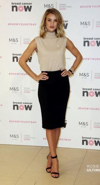 skirt top sandals pencil skirt rosie huntington-whiteley shoes cashmere jumper