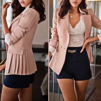 black girly jacket hairstyles fashion necklace blouse shorts blazer pink rosy jullnard gold lace