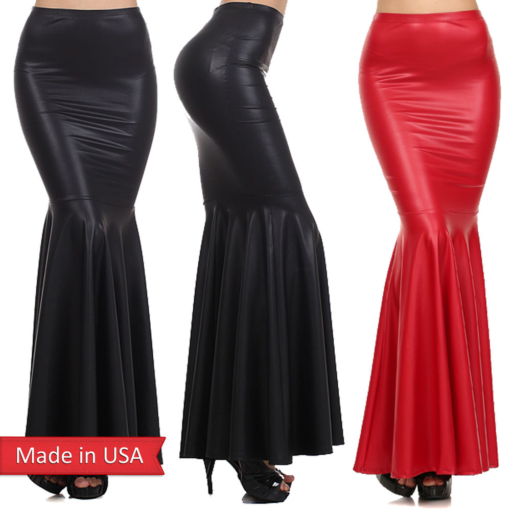 Faux Leather Matte Black Red Mermaid Flare Elegant Women Long Maxi ...