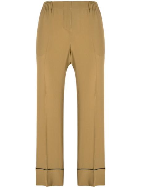 cropped women silk brown pants