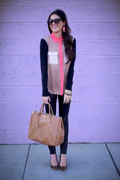 blouse color block long sleeves coral black