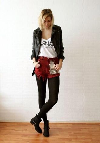shorts moto shorts studded shorts studded shoes hipster goth hipster street goth leather jacket boho jacket