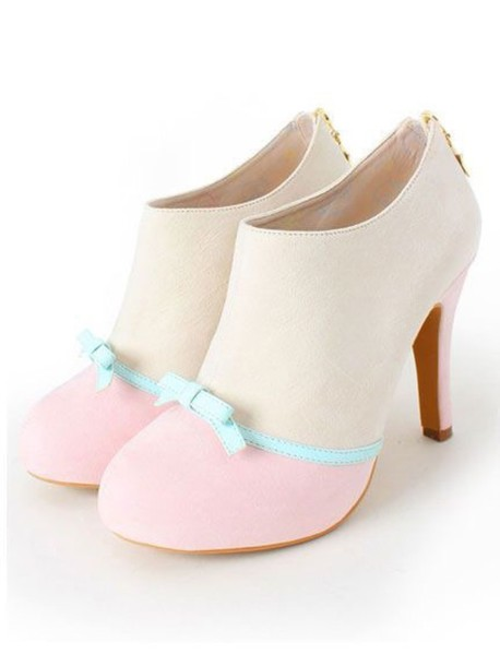 shoes cute high heels pastel shoes bow heels innocent kawaii shoes pink white bow cute booties heels