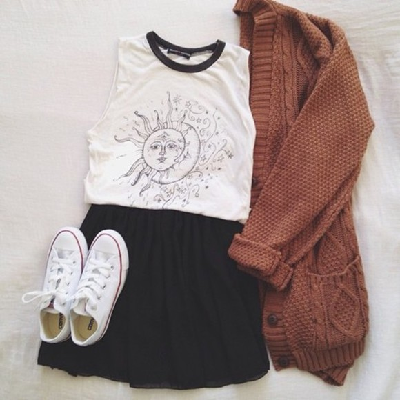 shirt skirt black skater skirt sweater cardigan brown knit converse