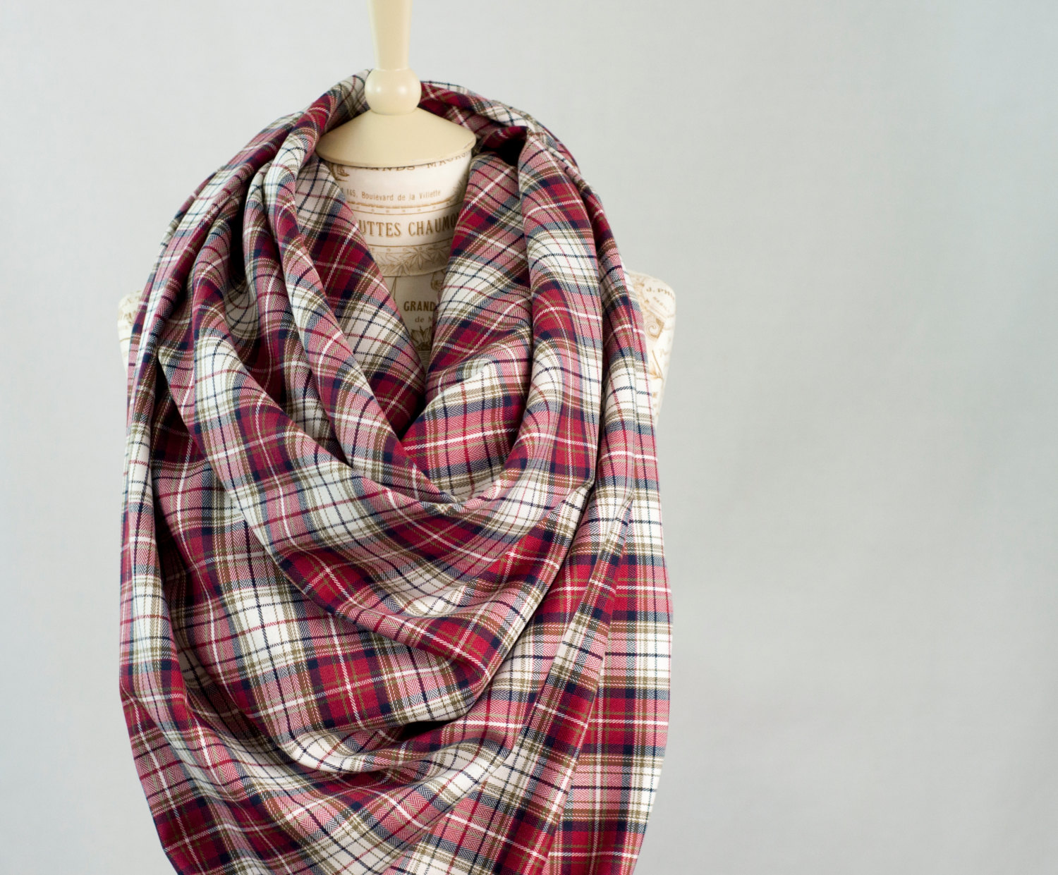 Red plaid blanket scarf, oversized plaid scarf, flannel tartan wrap scarf, flannel woven cotton scarf, fashion scarf, womens scarves