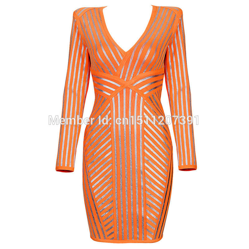 Aliexpress.com : Buy 2014 Autumn Winter Wholesale Sexy Striped Print in Silver Celebrity Long Sleeve Orange Deep V Halter Bandage Dress H903 from Reliable dresses for young women suppliers on Lady Go Fashion Shop