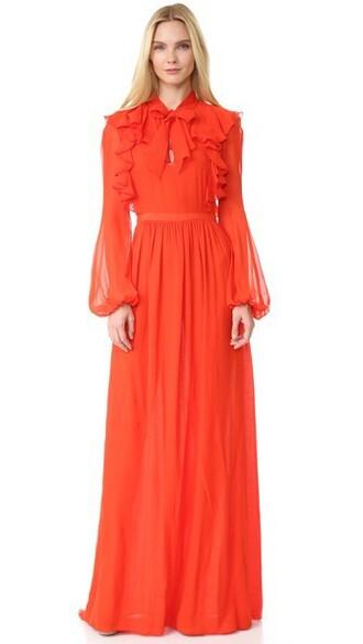 gown long ruffle dress