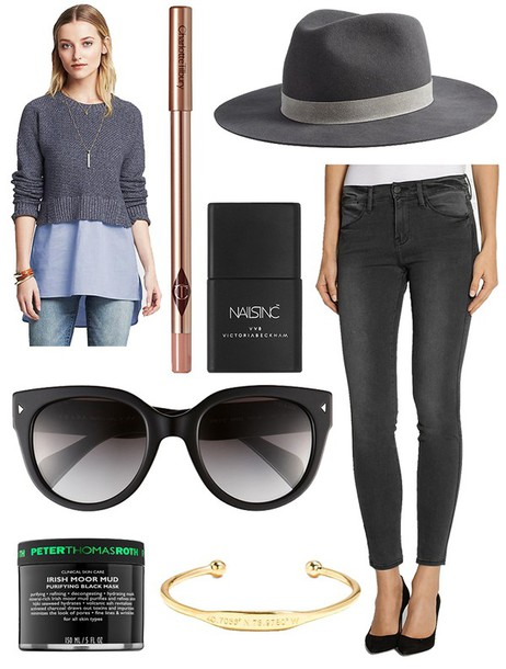 the glam files blogger make-up fedora black sunglasses grey sweater knitted sweater grey jeans