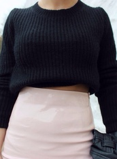 sweater,shirt,skirt,black,knit,knitted sweater,cropped,wool,fashion,model,girl,tight,tight skirt,plastic skirt,light pink,straight,high waisted skirt,pink skirt,light pink skirt,shiny skirt,pink,shiny,glossy,black sweater,black crop top,high waist skirt,high waist skirts,long fitted tan skirt,clothes,pale