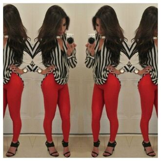 blouse cute trendy spring vertical stripes red skinny jeans black white pants