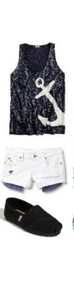 anchor top black top sparkly anchor shirt