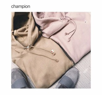 sweater hoodie champion comfy pink beige i need this help