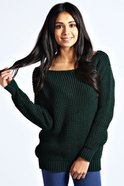 Tanya  Slash Neck Waffle  Knit Jumper at boohoo.com