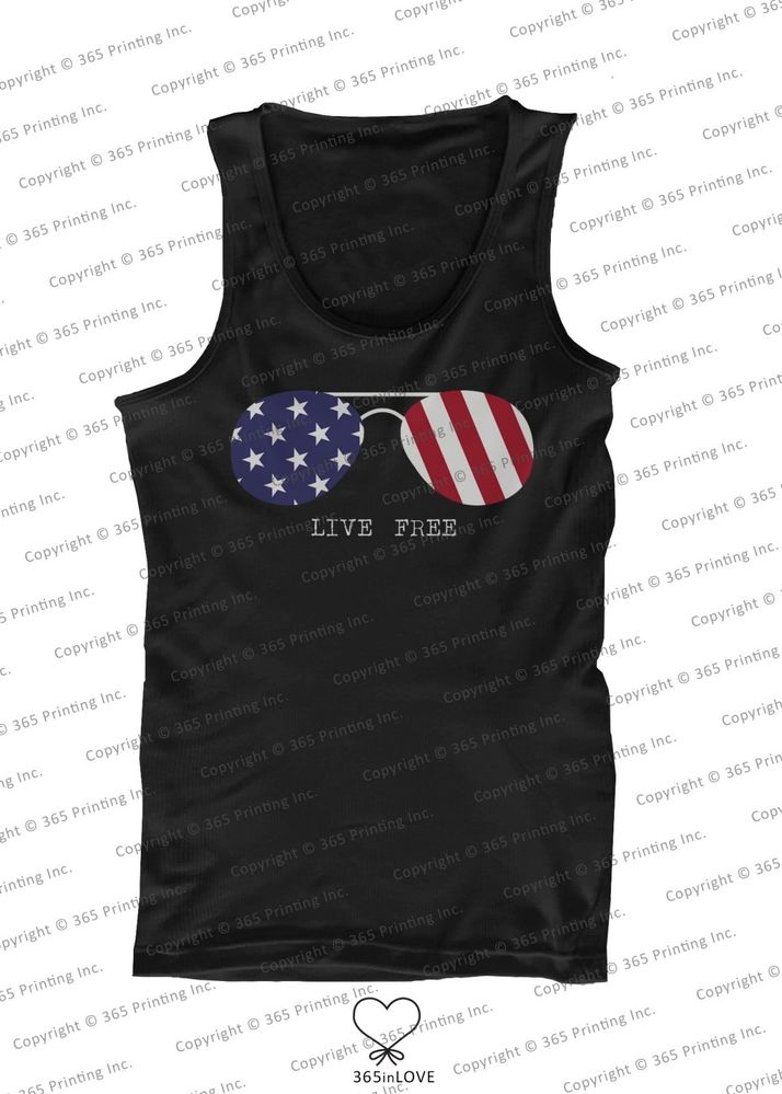 July 4th Red White and Blue Live Free American Flag Sunglasses Men's Tank Tops   eBay