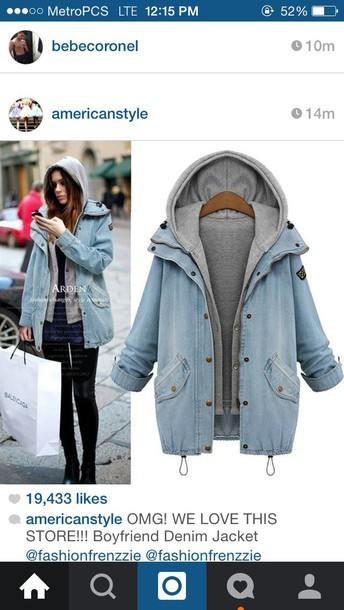jacket coat denim coat hoodie boyfriend denim jacket blue jeans grey sweater