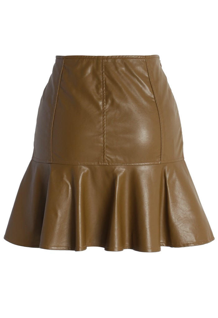Faux Leather Flared Mini Skirt in Coffee - Retro, Indie and Unique Fashion