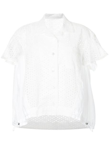 blouse women drawstring white cotton top