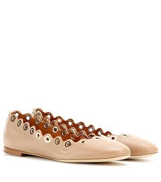 embellished leather beige shoes