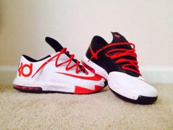 shoes red black white kevin durants 6 kds kds 6 kd kevin durant red and black kd 6s