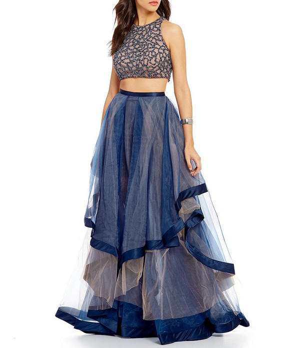 b4bc26998d87 dress prom dress blue dress tulle skirt two piece dress set beaded dress