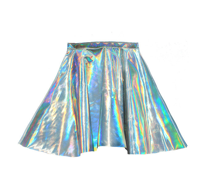 Chaincandy holographic hologram leather high waisted circle skirt