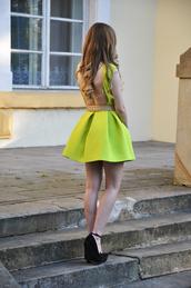 dress,neon,belt,heels,lemon,cute dress,cute,long sleeves,skater dress