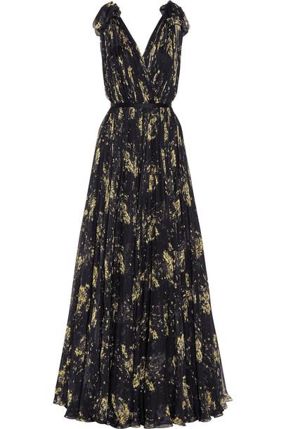 Alexander Mcqueen gown chiffon floral print silk gold black dress