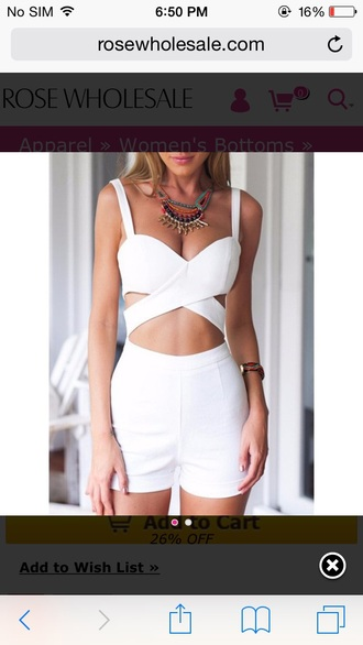 white romper romper cut-out summer white summer party statement necklace sexy