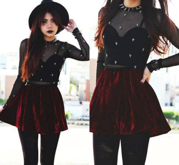 skirt black grunge red skirt bustier bustier crop top shirt