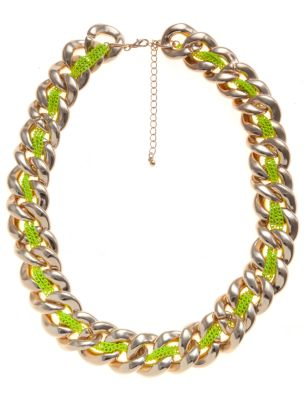 Gold and yellow neon thread chunky chain necklace