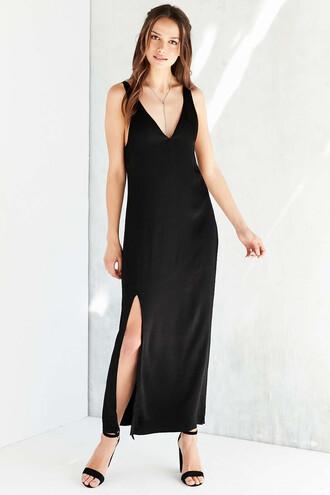 dress black black dress v neck v neck dress slit dress black maxi dress