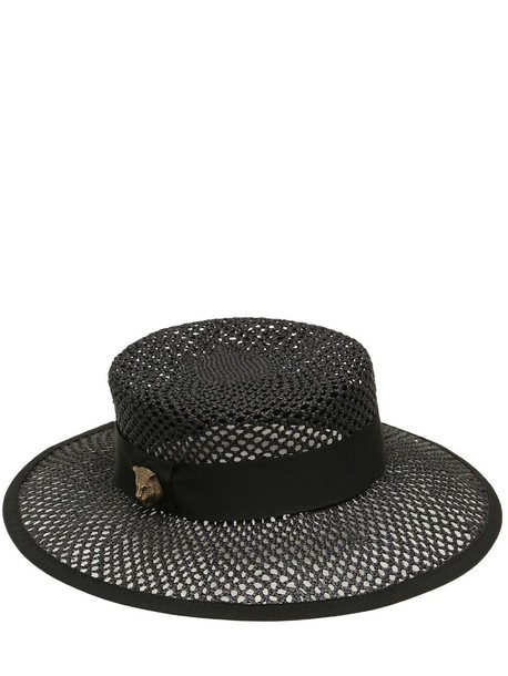 4abc8eee92662 GUCCI Woven Straw Hat in black - Wheretoget