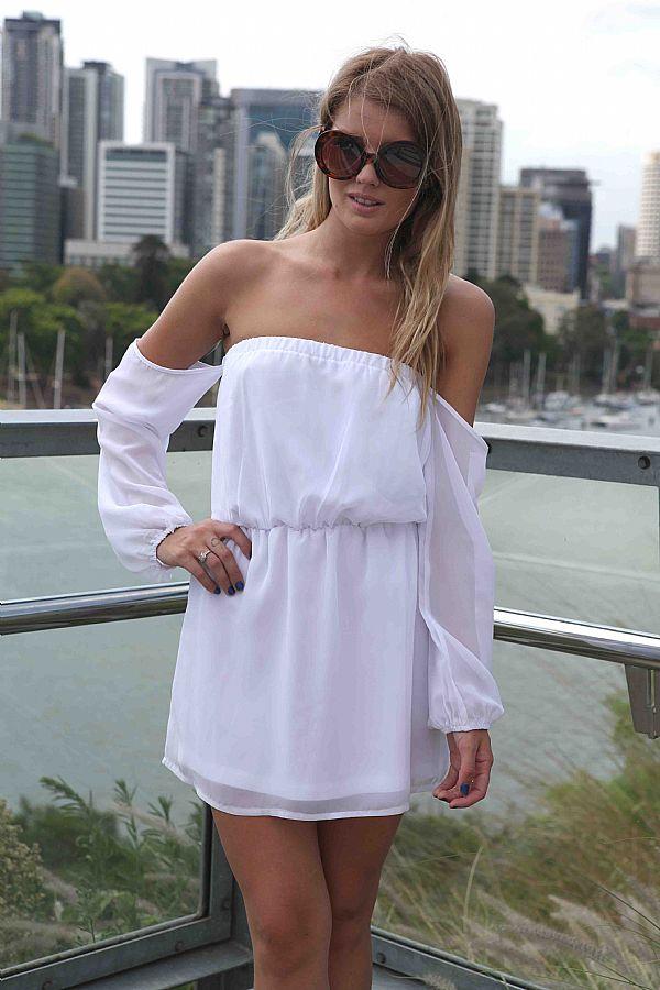 White Day Dress - White Flowy Off the Shoulder  ef334f24c