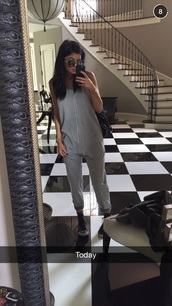 jumpsuit,grey,sunglasses,romper,pants,kylie jenner