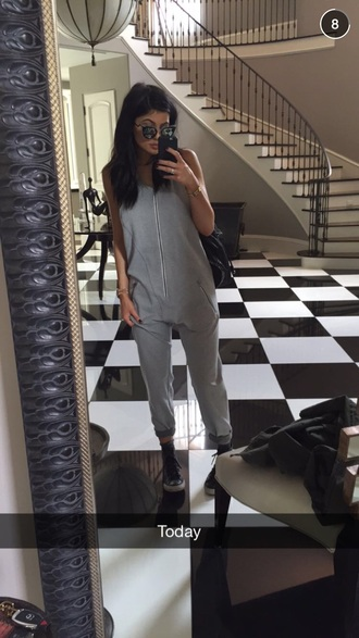 jumpsuit grey sunglasses kardashians romper overalls kendall and kylie jenner pants kylie jenner wang jumpsuit sexy jumsuit instagram alexander wang jumper