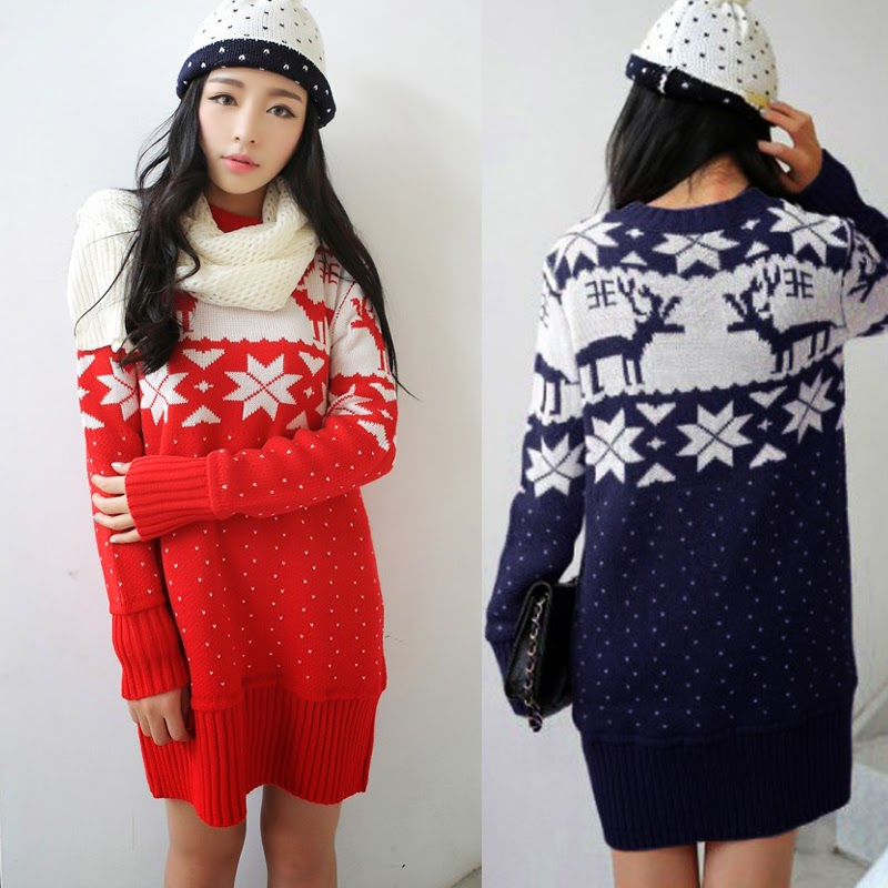 Christmas Deer Snowflake Hip Length Pullover Womens Sweater Jumper Knitwear 6891 | eBay